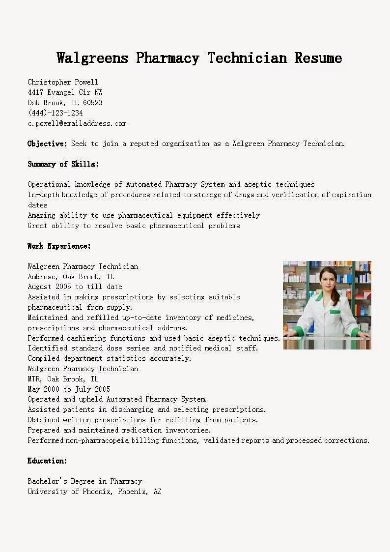 resume samples  walgreens pharmacy technician resume sample