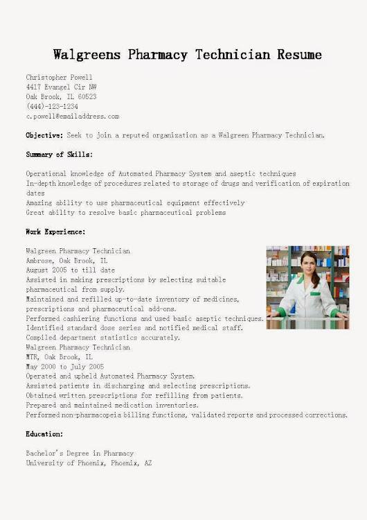 Walgreens Resume Resume CV Cover Letter
