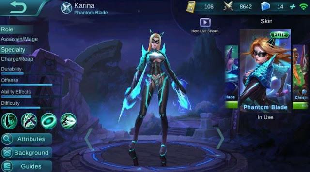 Build Item Gear dan Emblem Set Karina di Mobile Legends