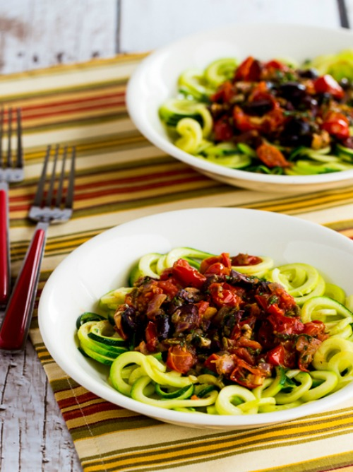 Low-Carb and Paleo Mediterranean Zucchini Noodles found on KalynsKitchen.com