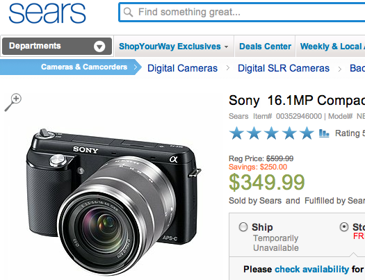 sony nex deal discount