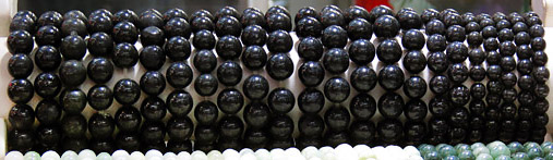 Black Jade Ball Bracelets in a Bogyoke Market shop