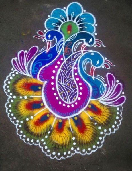 Latest Fashion Trends Beautiful Peacock Rangoli Designs