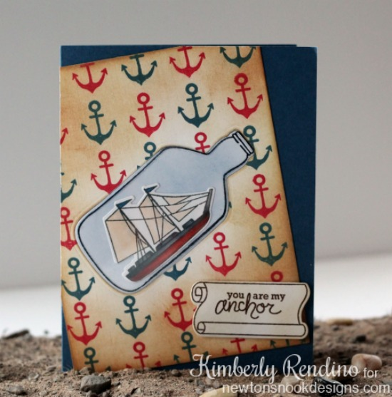 Message in a bottle card by Kimberly Rendino for Newton's Nook Designs | ship | nautical | anchors