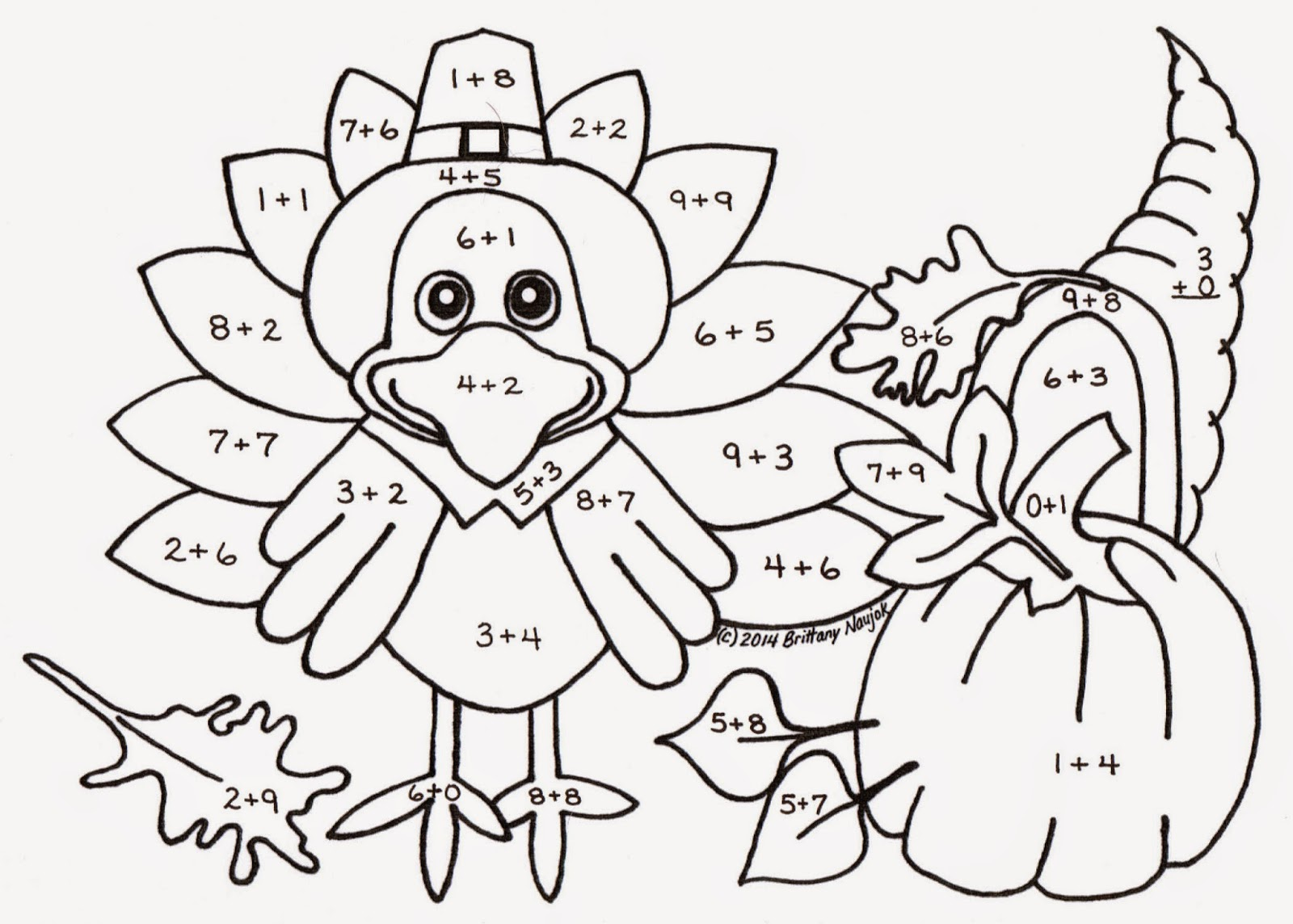 Fall Math Color By Number Addition Worksheets Sketch Coloring Page