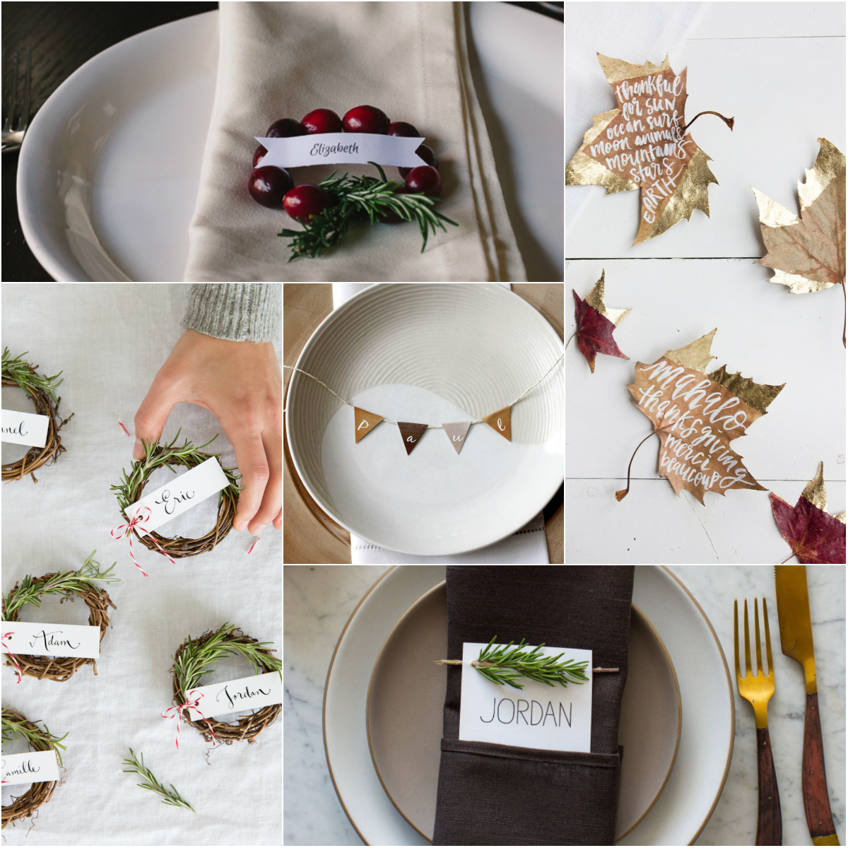 6 Easy Thanksgiving and Christmas Place Setting Ideas