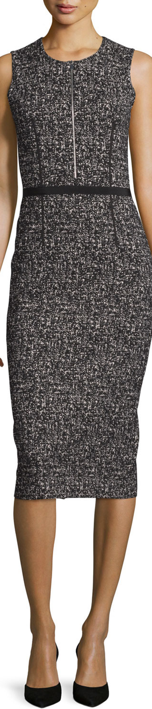 Michael Kors Sleeveless Tweed Zip-Front Sheath Dress