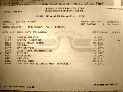 SPM STPM Matriculation result
