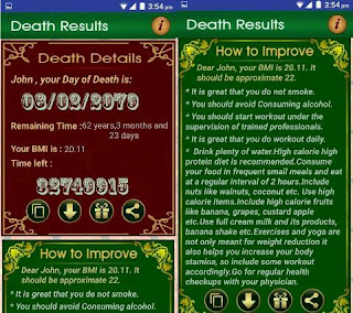 Aplikasi Android Death Date Calculator - Clock Life Prediction time