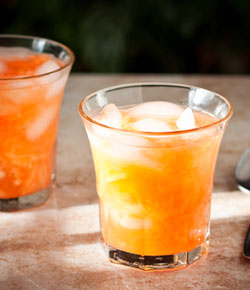bright holiday punch with cantloupe and spiced with vanilla