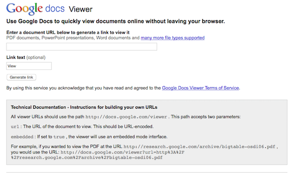 Google Docs Viewer Page, No Longer Available