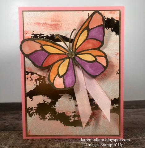 gold foil, butterfly, heat embossing, stampin blends, alcohol markers, spring card, stampin up, karen hallam, stampinup