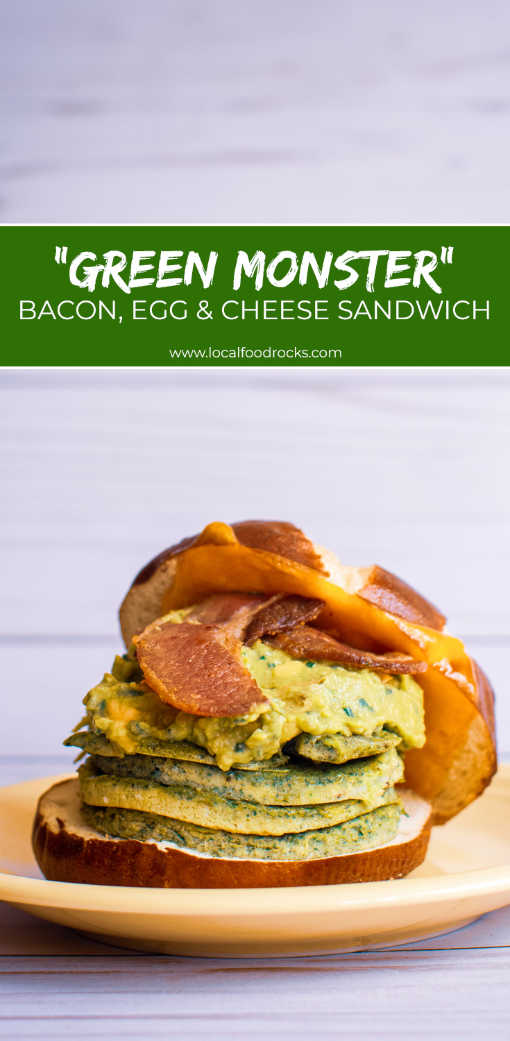 With spinach pesto eggs, crisp bacon, and tangy smashed avocado on a pretzel bun this baseball-themed version of green eggs and ham is a weekend breakfast MVP. #sponsored | Local Food Rocks