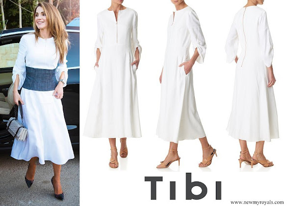 Queen Rania wore TIBI Marta Linen Dress