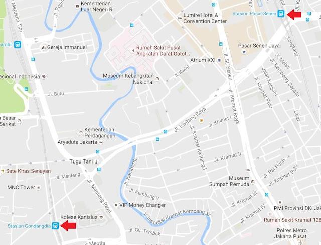 Peta jarak dari Stasiun Gondangdia ke Stasiun Senen