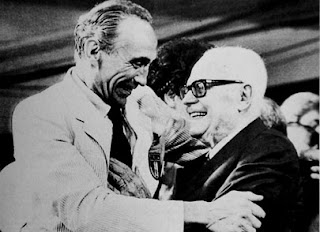 Sandro Pertini (right) congratulates coach Enzo Bearzot after Italy won the World Cup in Spain in 1982