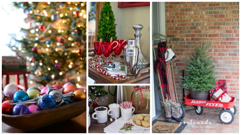 Simple Christmas decorating ideas. Love all the vintage items here.