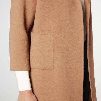 Пальто цвета кэмел camel с крупным карманом для драматика
