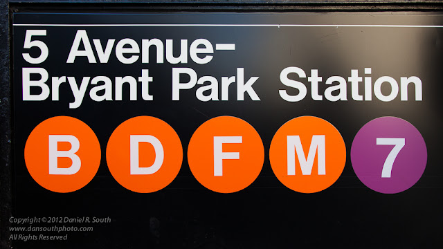 a photo of a subway sign near bryant park in new york