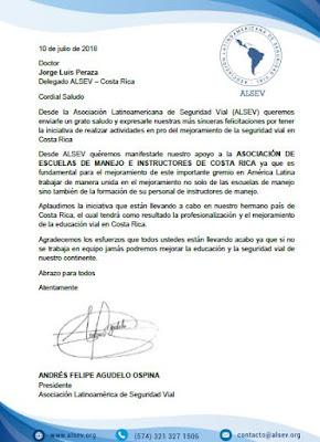 ALSEV APOYA LAS NUEVAS INICIATIVAS EN PRO DEL MEJORAMIENTO DE LA SEGURIDAD VIAL EN COSTA RICA