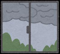 窓の外の天気のイラスト(曇り)