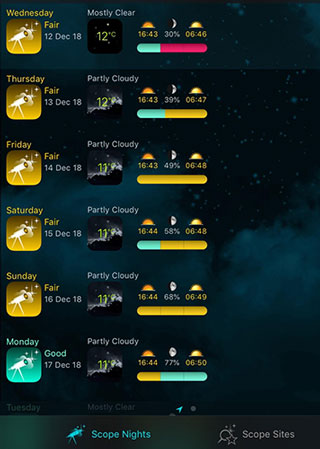 Weather observing forecast in Scope Nights screenshot (Source: Palmia Observatory)