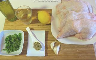 Pollo asado salsa limón vino blanco receta ingredientes