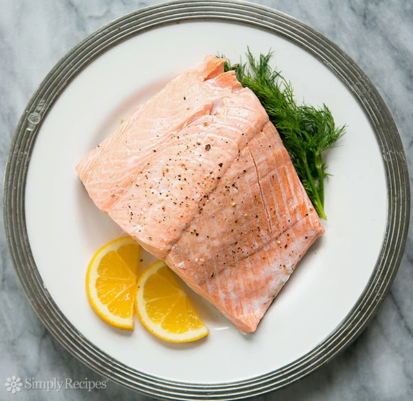Poached salmon steak