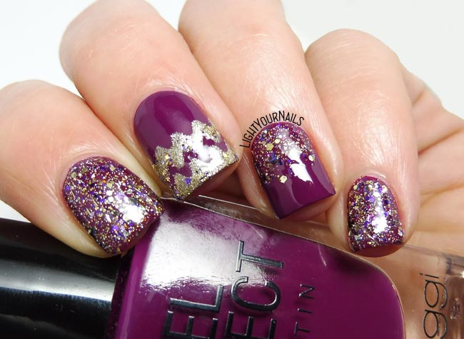 Festive purple glittery nails