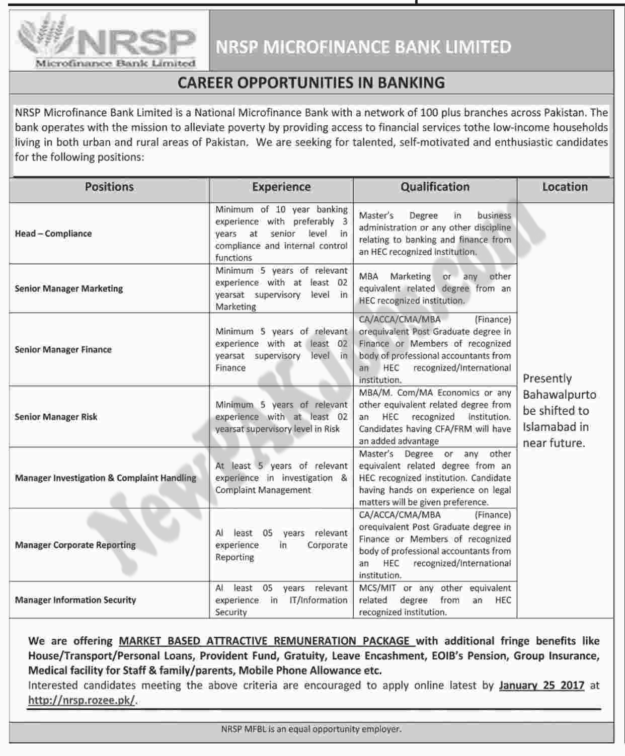 Today Jobs announced in NRSP Microfinance Bank Limited Apply Through Rozee.pk