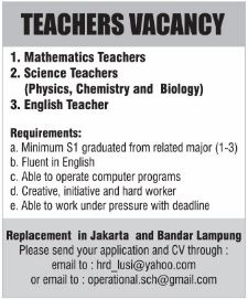 TEACHER VACANCY Replecemnet in Bandar Lampung April 2017