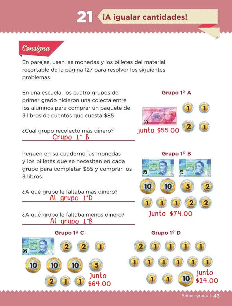 Libro de textoDesafíos Matemáticos¡A igualar cantidades!Primer gradoContestado