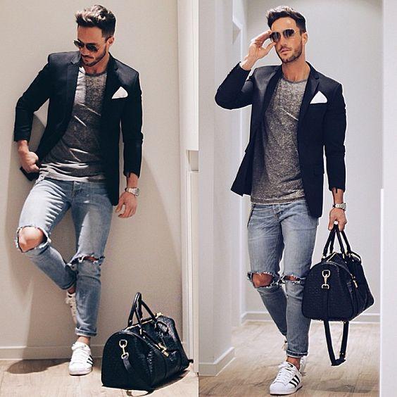 look masculino com blazer  adidas superstar branco