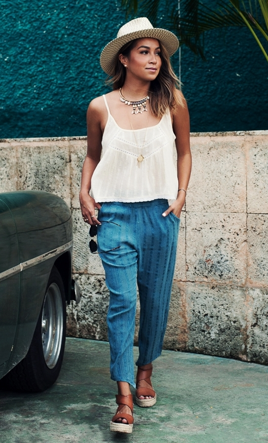 awesome outfit_platform sandals + hat + blue pants + top + hat