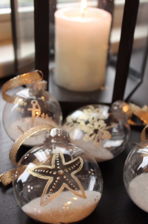Gold Painted Clear Ball Ornament
