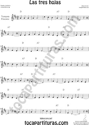 Trompeta y Fliscorno Partitura de Las Tres Hojas Sheet Music for Trumpet and Flugelhorn Music Scores