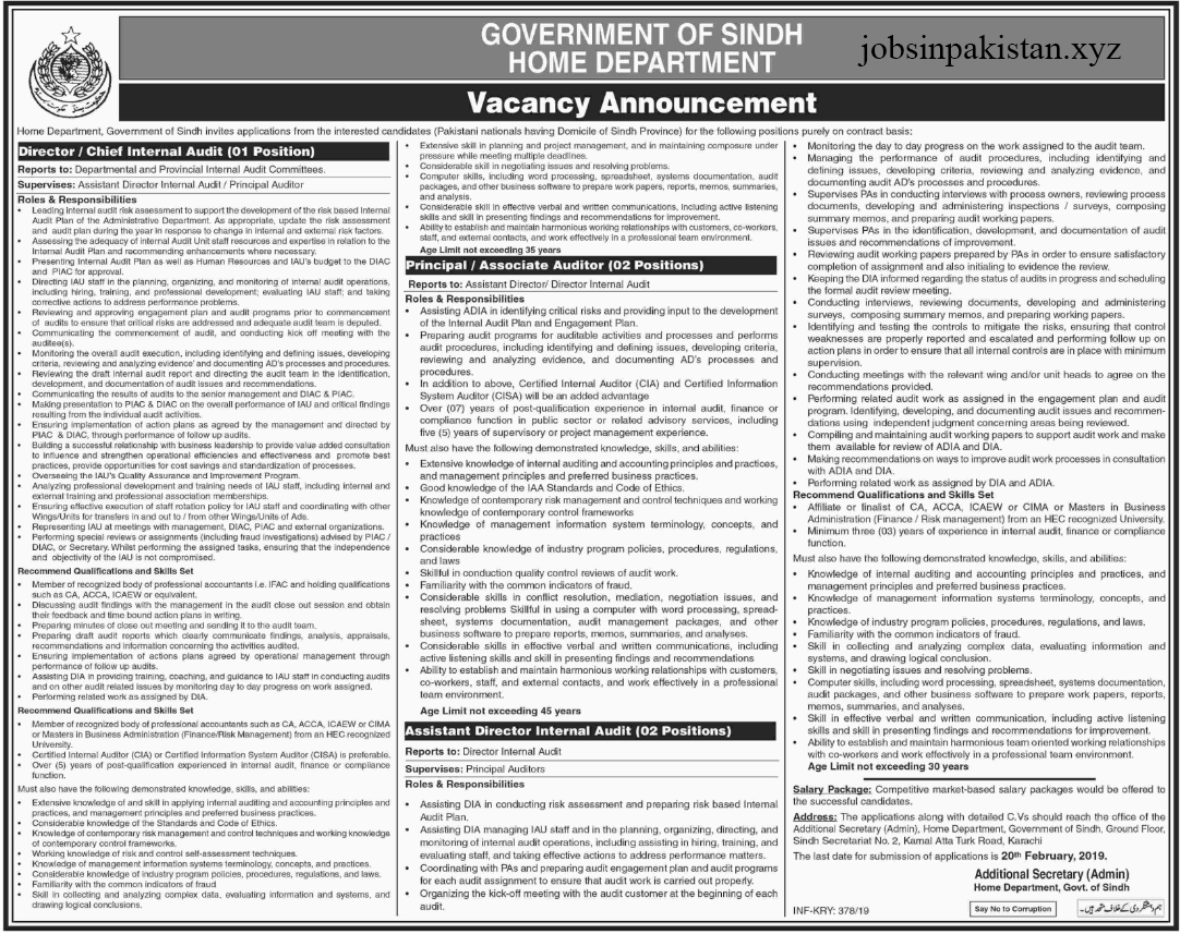 Advertisement for the Home Department Jobs