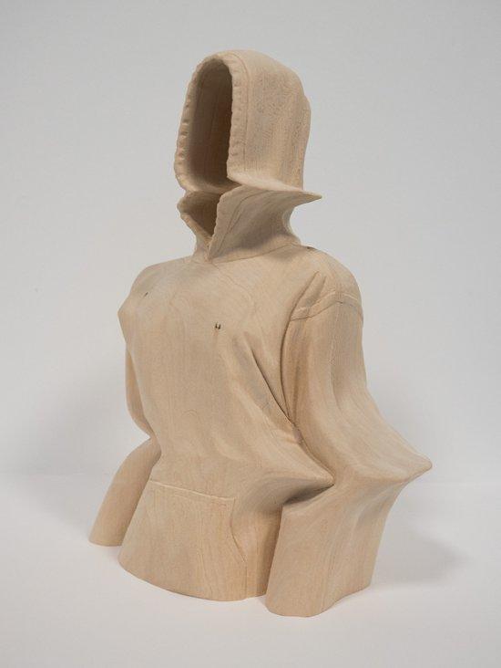 Paul Kaptein esculturas de madeira efeitos glitch surreais