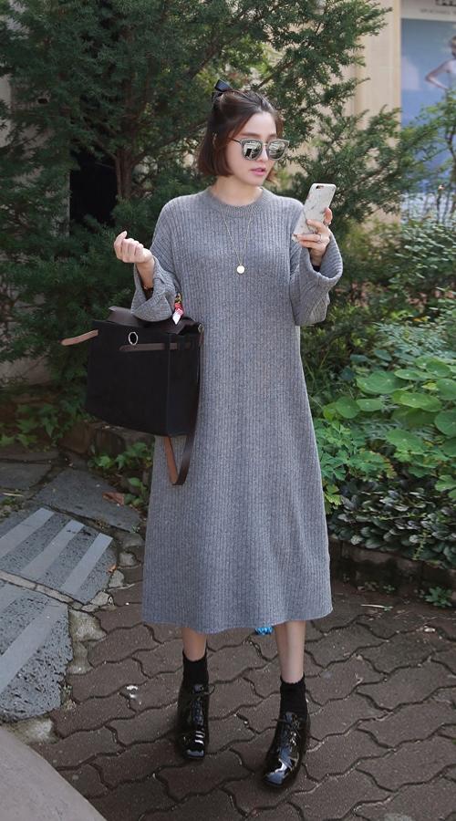 Ribbed Wide Sleeve Dress