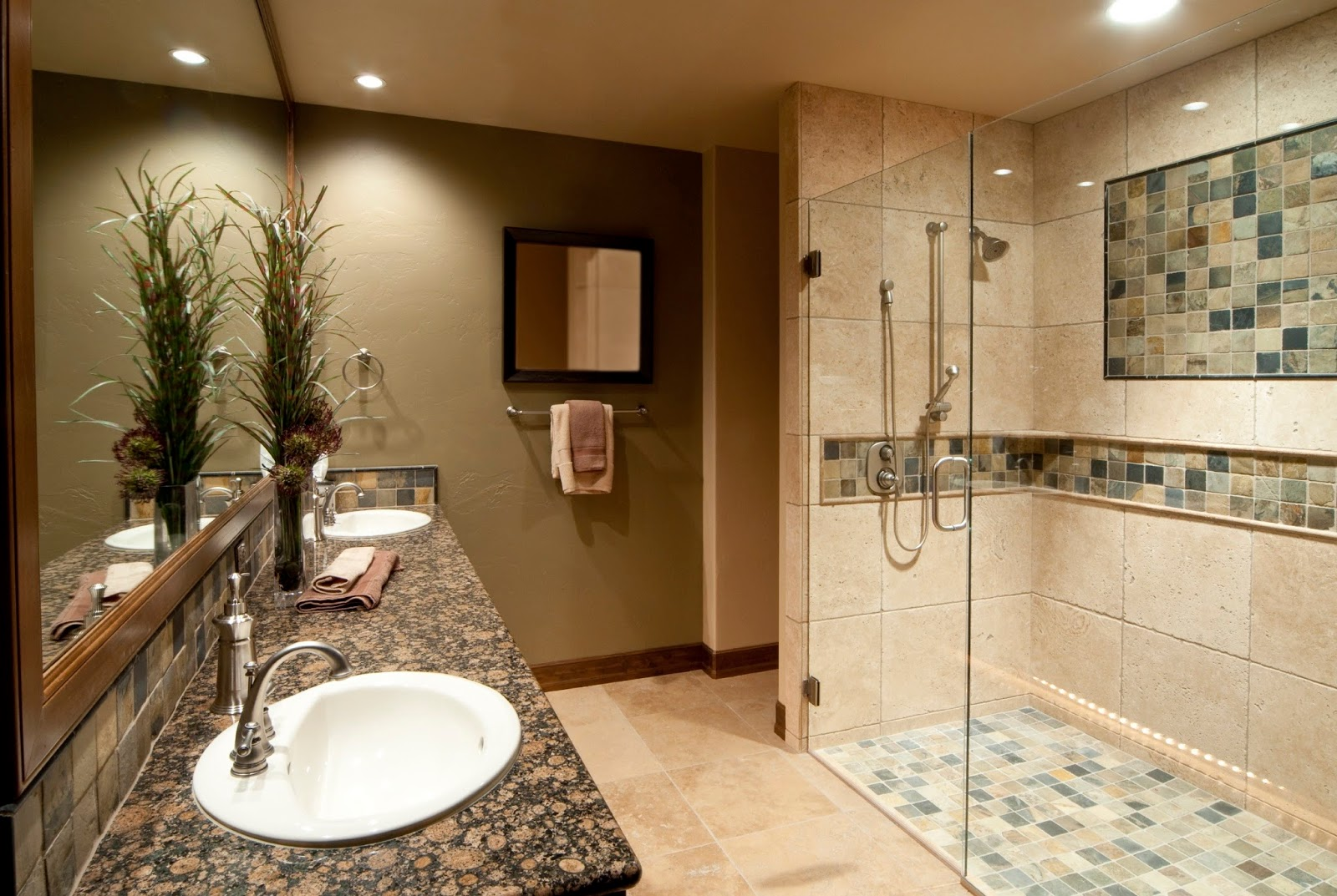 Lovely In the concept of the modern bathroom you can use a custom design and still elegant With adequate lighting and without bathup that will enhance the