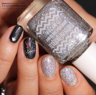 New Year's Eve Holographic Firework Nail Art