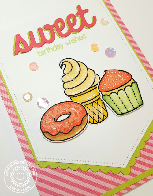 Sunny Studio Stamps: Sweet Birthday Wishes Ice Cream Cone, Cupcake & Donut Card by Lindsey Sams.