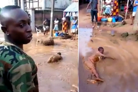 nigerian soldier man roll muddy water