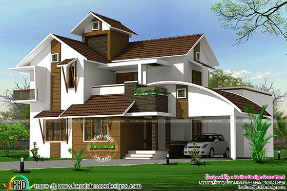 2410 square feet modern mix sloping roof house
