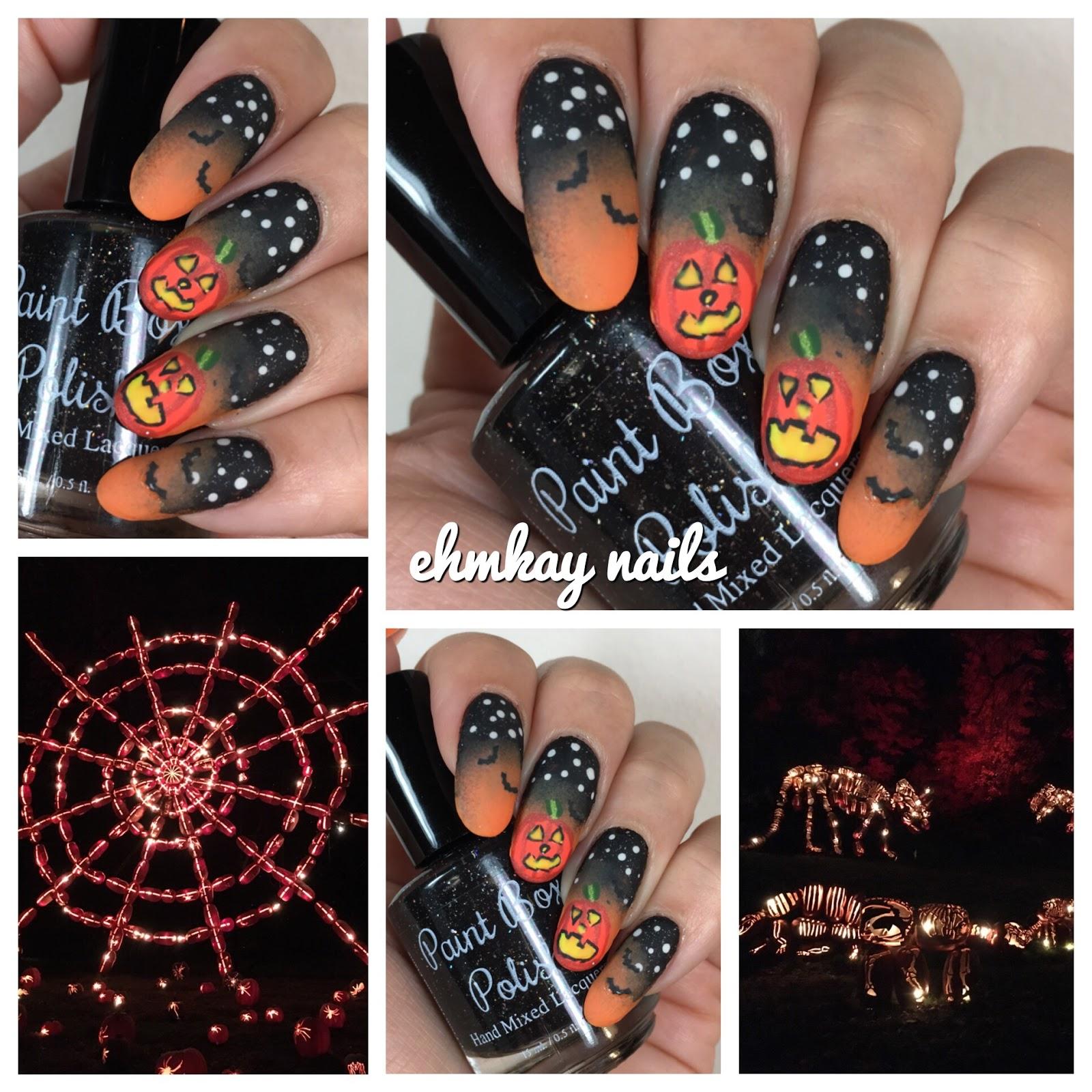 ehmkay nails: Halloween Nail Art: Glowing Pumpkin Nail Art at The ...