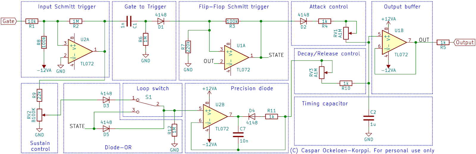 small resolution of the gate input is conditioned by u2a using positive feedback r2 to create hysteresis and form a schmitt trigger this turns any input gate signal into a