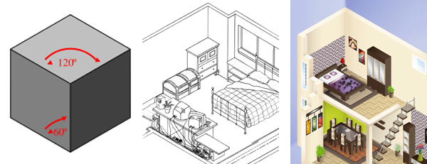 isometric perspective drawing samples - Interior Design Drawings