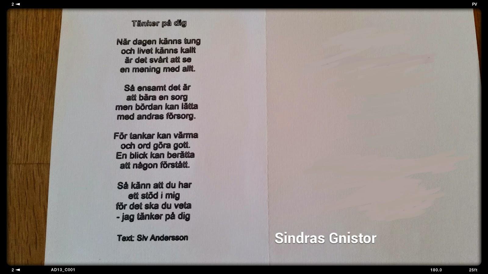 grattis på studenten dikt Sindras Gnistor: Kondoleanskort grattis på studenten dikt