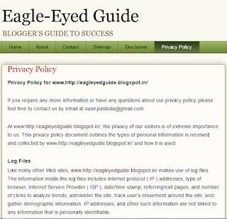 Blogger blog Privacy Policy page