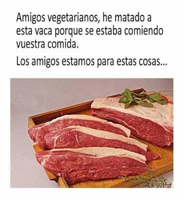 Amigos vegetarianos, he matado a esta vaca porque se estaba comiendo vuestra comida. Los amigos estamos para estas cosas.